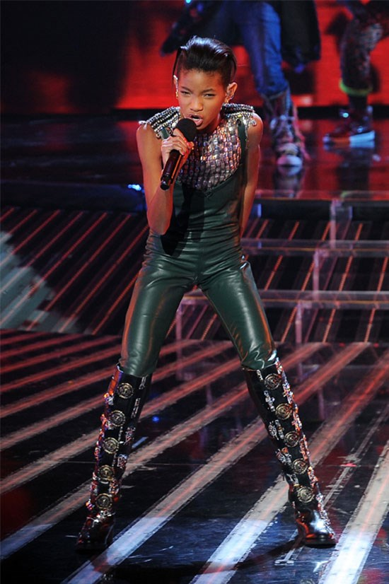 <strong>Willow Smith performs on the X Factor, California 2011</strong> <BR> <BR> Woah! Willow rocks this green leather jumpsuit, with sparkly embellishments