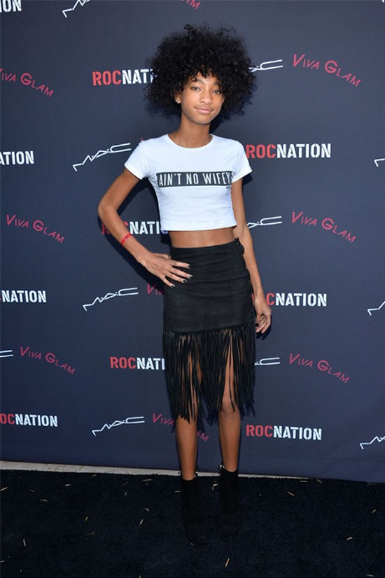 <strong>Roc Nation Pre-Grammy brunch in Los Angeles, 2014</strong> <BR> <BR> Willow making a feminist statement with this tee?