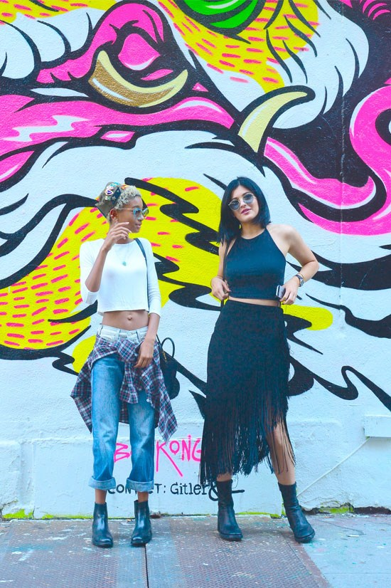<strong>Willow Smith and Kylie Jenner in New York, 2014</strong> <BR> <BR> Street style inspo.