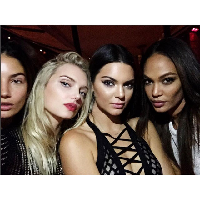 <p>Joan Smalls and the girls pose for a selfie while en route to the after party</p> <p>@joansmalls</p>