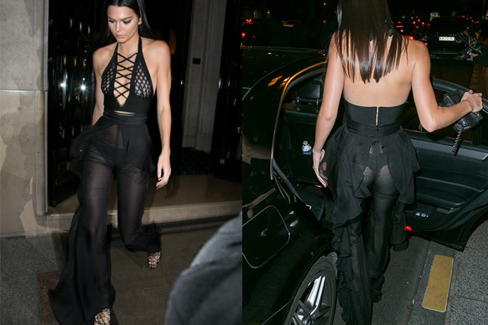 Kendall Jenner got a bit cheeky at the Olivier Rousteing Dinner During Paris Fashion Week last week.