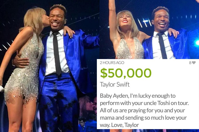 Tay continued her donation streak by donating $50k to her back-up dancer's 13-month-old nephew, who is battling cancer. Sweet.