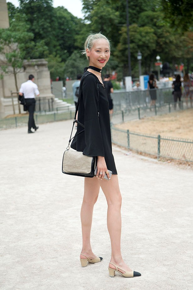 Soo Joo Park's simple black dress lets the sling-backs be the hero of the look.