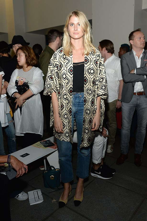 Laura Stoloff teams a silk kimono top with jeans and the dreamy Chanel slingbacks.