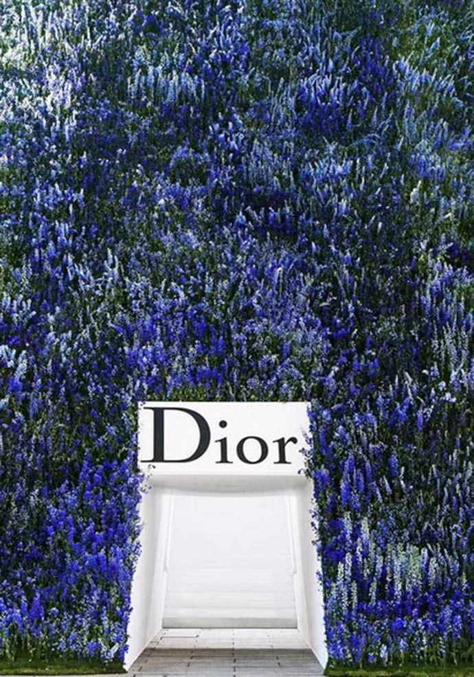 From floral walls, to floral ceilings every season Dior overwhelms our senses. And this season it was the Louvre covered in Delphiniums, divine. Image: Instagram