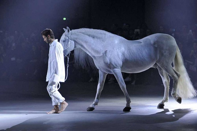 Because why aren't there more horses on the catwalk? Especially ethereal looking horses with good looking men in white shirts. Bravo, Jacquemus you've got us hooked. Image: Getty
