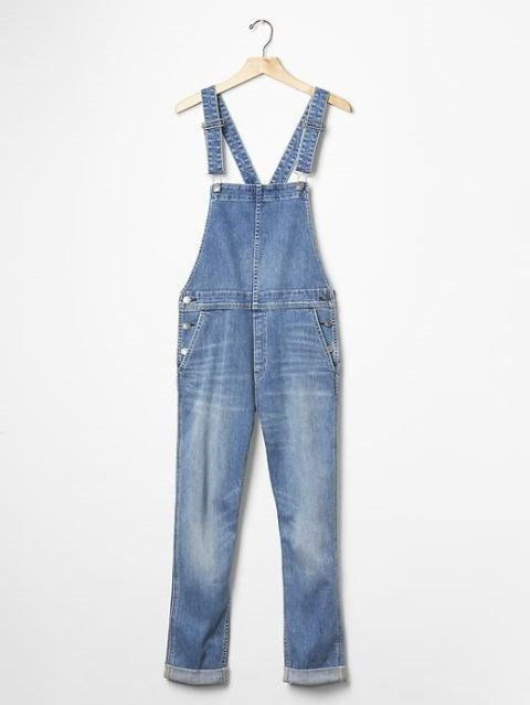 "Gap 1969 Denim Cross-Back Overalls, $90; <a href=""http://www.gap.com/browse/product.do?cid=1035661&vid=1&pid=124395002"">gap.com</a>"