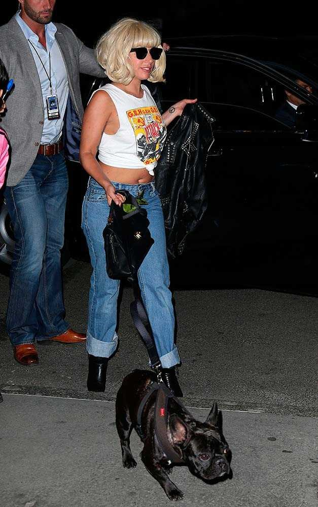 Lady Gaga's style rule? Always team your band shirt with a leather jacket.