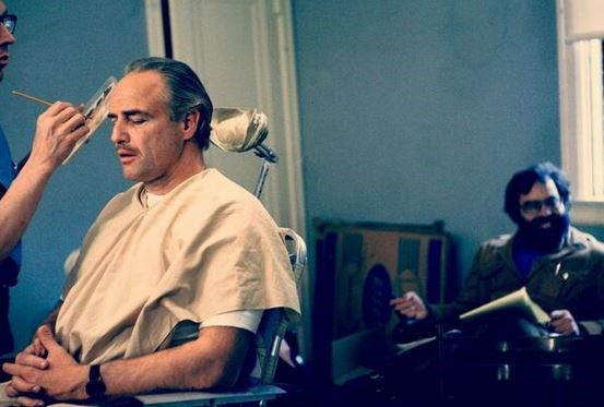 "<strong>The Godfather (1972)</strong> <br> <br> Marlon Brando in the makeup chair. <br> <br> Image: <a href=""https://twitter.com/MakingOfs/status/631192120552984576/photo/1"">Twitter</a>"