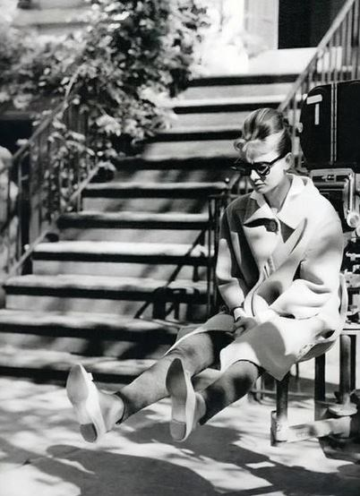 "<strong>Breakfast At Tiffany's (1961)</strong> <br> <br> Audrey Hepburn puts her feet up on set. <br> <br> Image: <a href=""https://twitter.com/MakingOfs/status/630829771132375040/photo/1"">Twitter</a>"