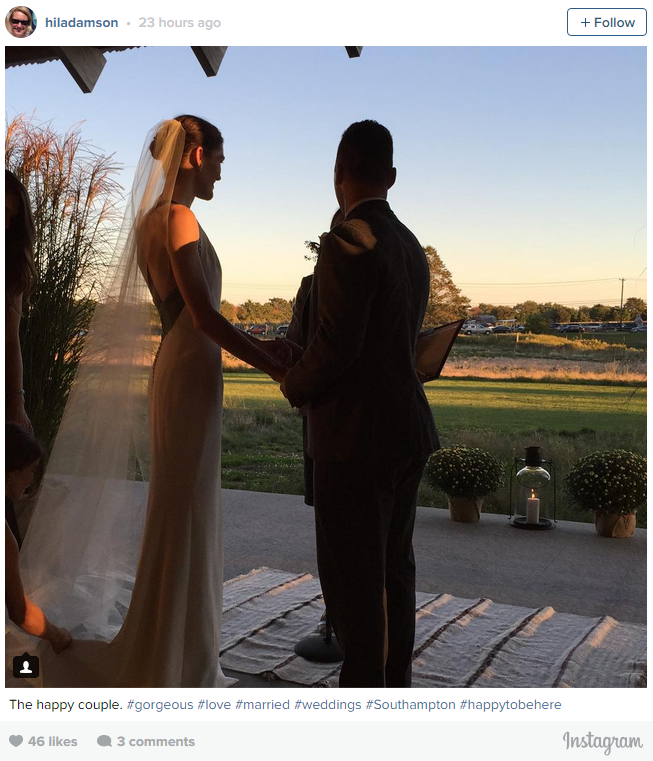 Model Hilary Rhoda and former ice hockey player Sean Avery got hitched on October 10 at the Parrish Museum in Water Mill, New York. <br><br> Rhoda wore a stunning Carolina Herrera dress and Chopard earrings. <br> The pair got engaged in 2013 after three years of on and off dating. Congratulations!