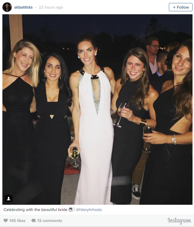 Hilary Rhoda with friends at her wedding to Sean Avery at the Parrish Art Museum in Water Mill, New York.