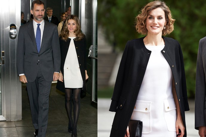 Queen Letizia of Spain is incredible chic, and her classic personal style means that she can her clothes for years. Case in point? This monochrome Felipe Varela dress that Queen Letizia has worn for the past five years. On the left, she's wearing the dress in 2012 with black tights, and on the right a more summery take last week. <br><br> proof that it's worth investing in pieces you will wear time after time.