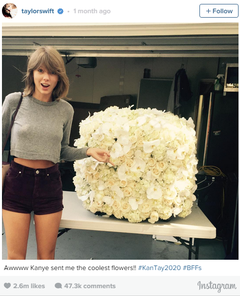 2. Sept. 4, 2015: Kanye West gave Taylor Swift flowers. The internet went crazy.