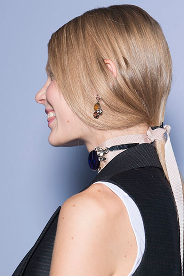 <strong>Best hair tuck trick: Dior</strong> <br> <br> <em>Dior</em> have owned the low-pony space for a few seasons, but for <em>SS16</em>, <em>Guido Palau </em>took it to a totally new place. Securing the tail with a ribbon, he took the length around each model's neck for a modern-Victorian feel. For an endearing finish, he let each girl's ear poke through too. So cool.