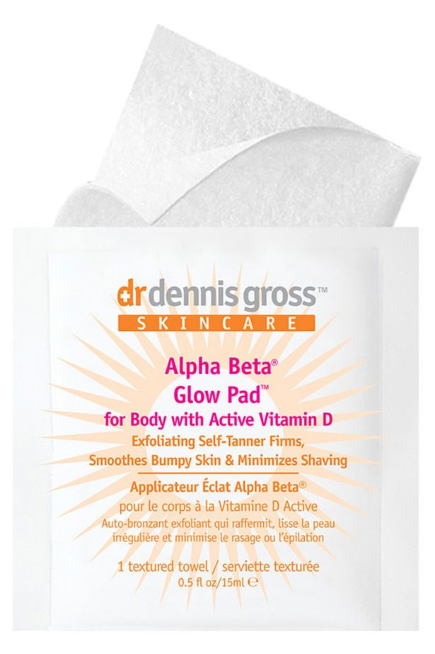 "<strong>Best dual purpose:</strong> <a href=""http://mecca.com.au/dr-dennis-gross-skincare/alpha-beta-glow-pad-for-body/I-017626.html?cgpath=skincare-tanning"">DR DENNIS GROSS SKINCARE Alpha Beta Glow Pad for Body</a> <BR> <BR> <em>(*These cult anti-aging wipes feature a tanning agent and AHA's to exfoliate at the same time)</em>"