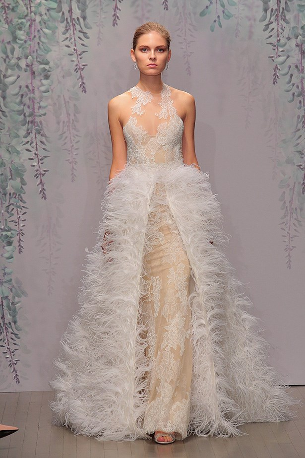 That feathering at Monique Lhuillier