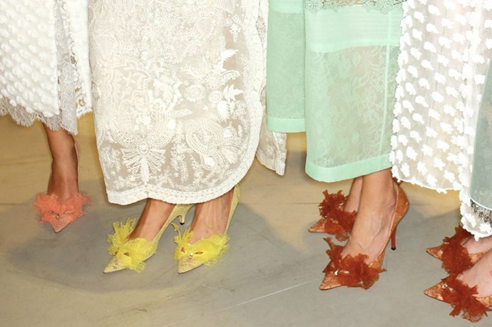<em>Rochas continues to dominate the It‐shoe game. Next season's must: lace-trimmed kitten heels in vibrant shades.</em>