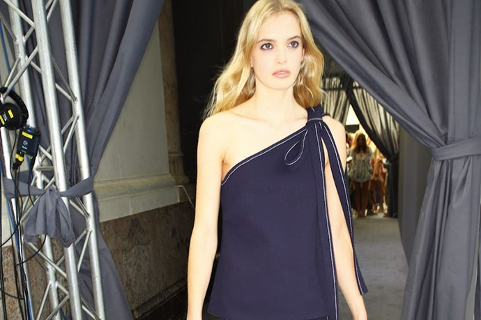 <em>Classic navy was anything but at Chloe, which offered modern proportions highlighted by contrast stitching.</em>