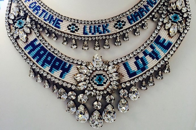 <em>Sharouk offered wise words for SS16in the form of crystal‐encrusted chokers.</em>