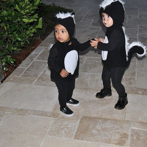 <strong>KIM KARDASHIAN'S DAUGHTER, NORTH, AND KOURTNEY KARDASHIAN'S DAUGHTER PENELOPE</strong> <br> As skunks.