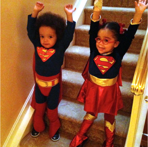 <strong>MARIAH CAREY AND NICK CANNON'S TWINS, MONROE AND MOROCCAN</strong> <br> As Superman and Wonder Woman.