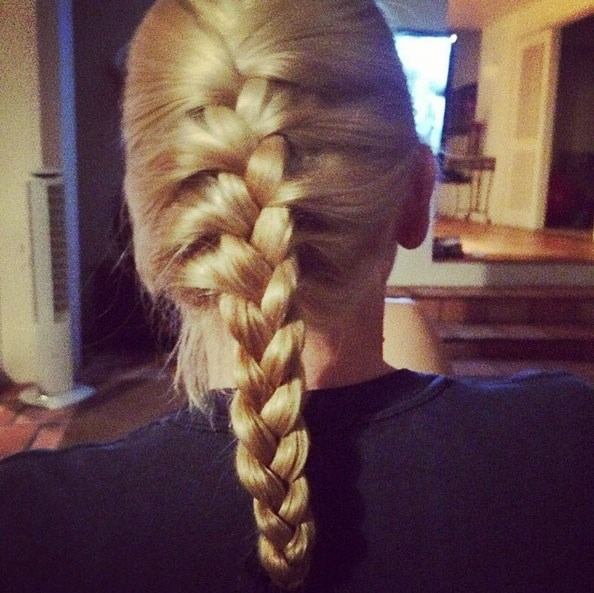 """Chris took to Instagram with his impressive hair-braiding skills: """"This is a weird thing to brag about but I did that glorious French braid. #Baller #man #ManBraid #RealMenBraid #isItBrade? #SpellingQuestion #StillBallerTho #WhyIsItFrench??? #ICallItAFreedomBraid #GoUsa"""" <br> <br> A husband who braids your hair- where can we find one? <br> <br> Image: <a href=""""https://instagram.com/p/nDu2JLjHH0/"""">Instagram</a>"""