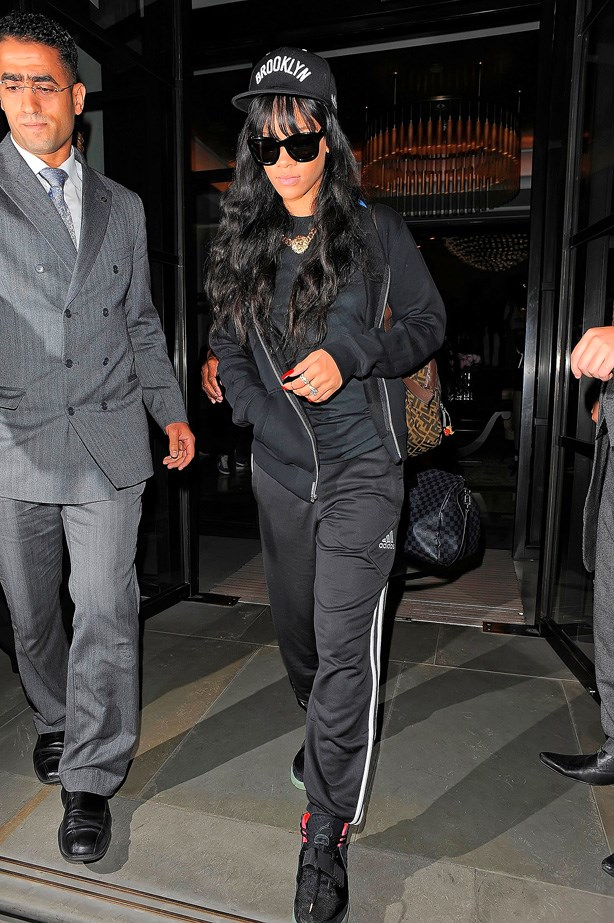 Rihanna looks bad-ass in all black.