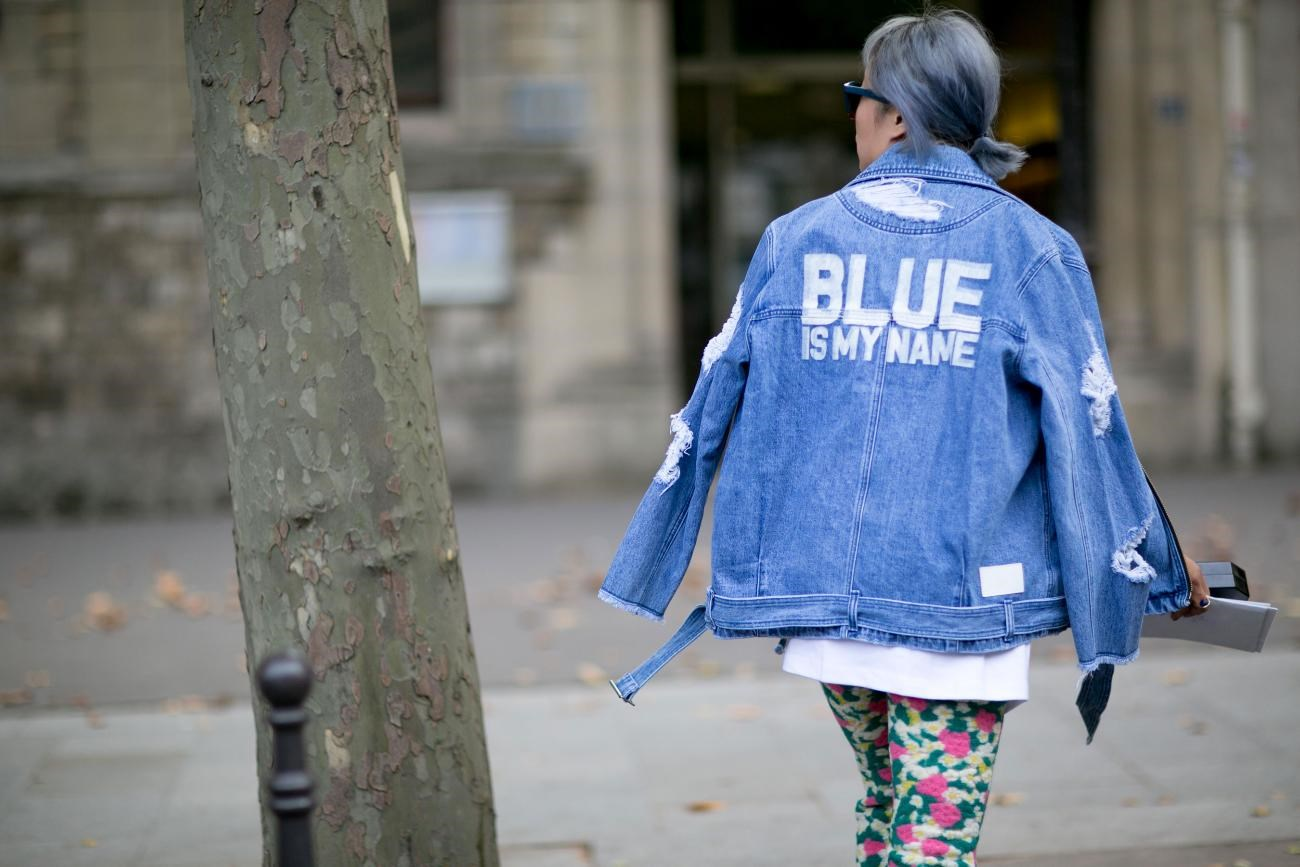 Make denim your motto with a distressed jacket emblazoned with a clever phrase.