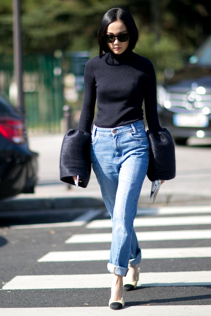 Go high-low and wear a dramatic evening top with your most worn-in pair of boyfriend jeans.