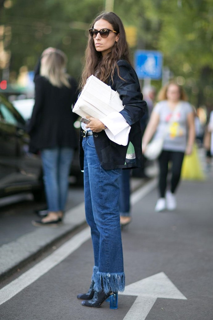 Frayed denim is taking over. This look takes it to the max.