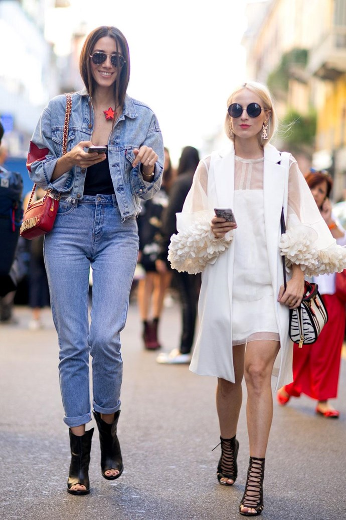 A cropped denim jacket plus high waisted jeans makes for a retro-cool take on the beloved Canadian Tuxedo.