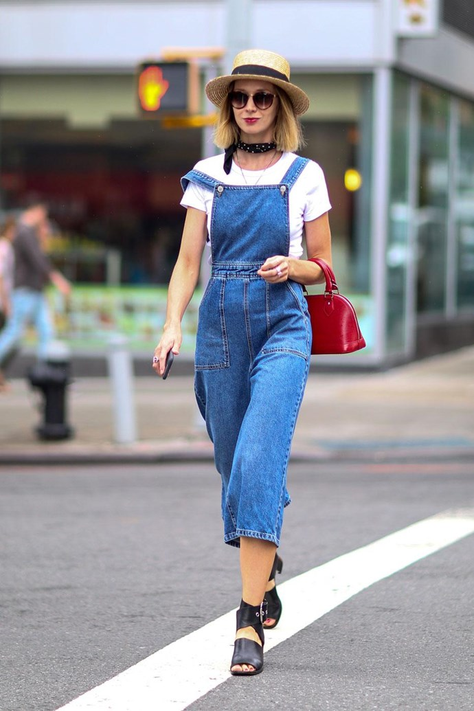 Cropped and fitted denim overalls feel sweet, not saccharine.