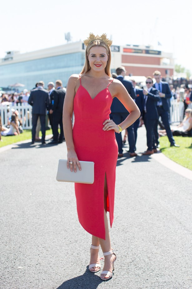 Name: Jacqui Libro<br><br> Outfit: Shakuhachi dress, Princess-Couture millinery, Nine West heels <br><br> Race day: Caulfield Cup 2015 <br><br> Location: Melbourne <br><br>