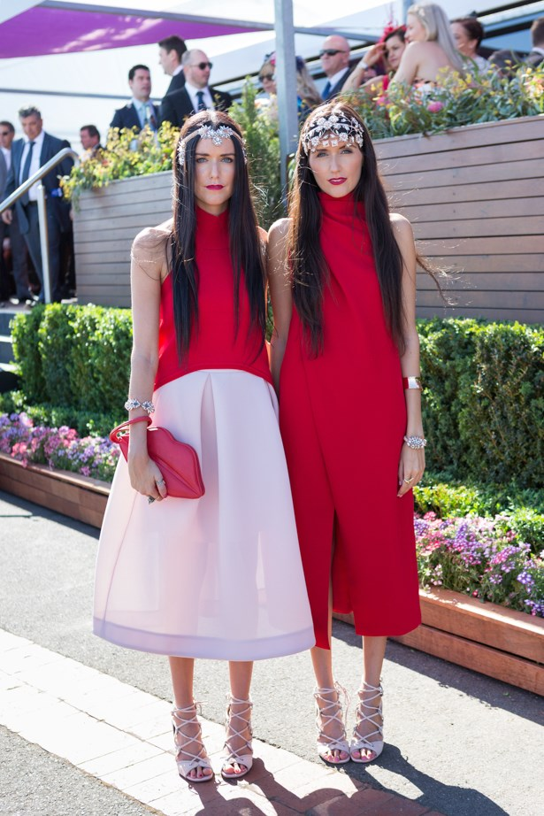 Name: Jess and Steph Dadon<br><br> Outfit: C/meo Collective dress, and red top with Nicholas skirt, Mimco-millinery and heels <br><br> Race day: Caulfield Cup 2015 <br><br> Location: Melbourne <br><br>
