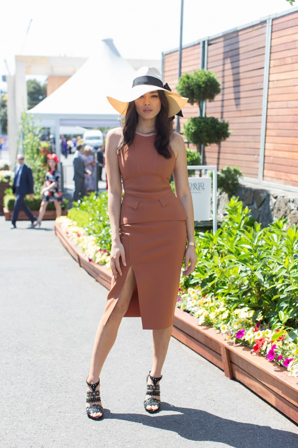 Name: Jessica Gomes<br><br> Outfit: Scanlan Theodore dress,  Hatmaker hat<br><br> Race day: Caulfield Cup 2015 <br><br> Location: Melbourne <br><br>