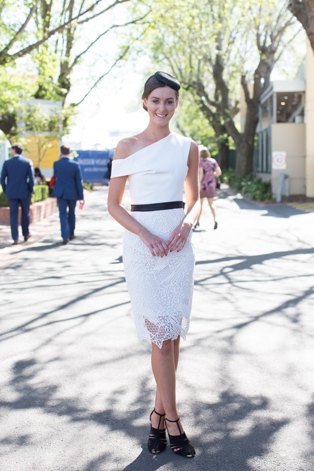 Name: Madeline Slattery<br><br> Outfit: Manning Cartell dress, Olga berg millinery <br><br> Race day: Caulfield Cup 2015 <br><br> Location: Melbourne <br><br>