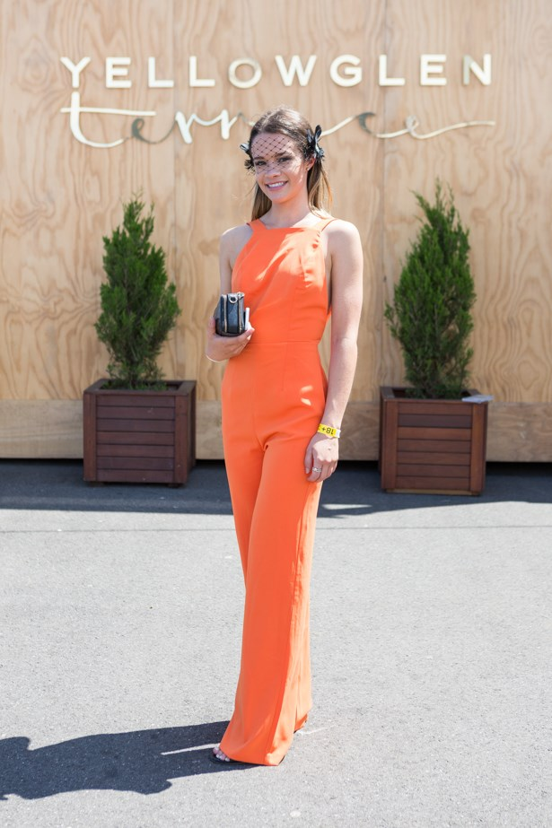 Name: Olivia Weinzierl <br><br> Outfit: Jumpsuit by Kookai and shoes by Wittner<br><br> Race day: Caulfield Cup 2015 <br><br> Location: Melbourne <br><br>