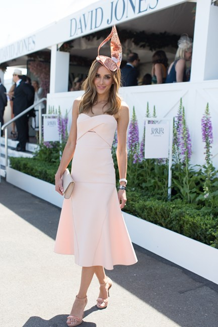 Rebecca Judd wearing Dion Lee dress at the Caulfield Cup 2015