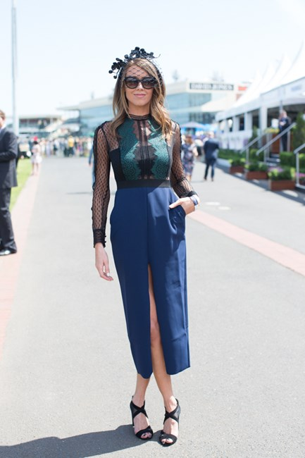 Sarah Stewart wearing  Self Portrait at the Caulfield Cup 2015