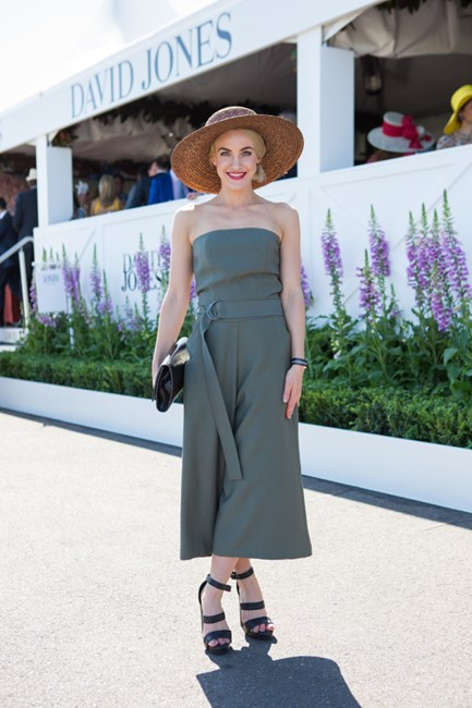 Skye Vallve wearing Victoria Woods Jumpsuit at the Caulfield Cup 2015