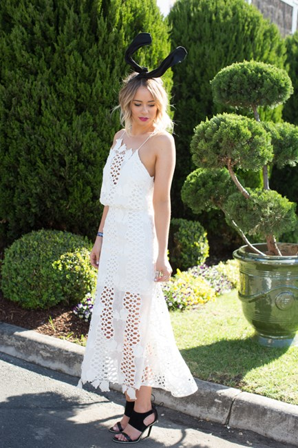 Tully Smyth wearing Alice McCall Caulfield Cup 2015