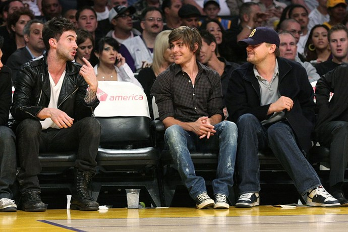 NOVEMBER 21, 2008 A bro is born, hanging out (and taking life lessons) from ultimate bros Adam Levine and Leonardo DiCaprio. That slightly unbuttoned top is a nice touch. GETTY