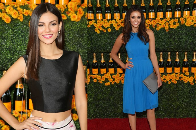 Noted celebrity doppelgangers Vampire Diaries star Nina Dobrev and model and actress Victoria Justice were hanging out at the Veuve Clicquot Polo Classic, giving us all the chance to marvel at their separated at birth vibe. The best bit ... they took a snap together ...