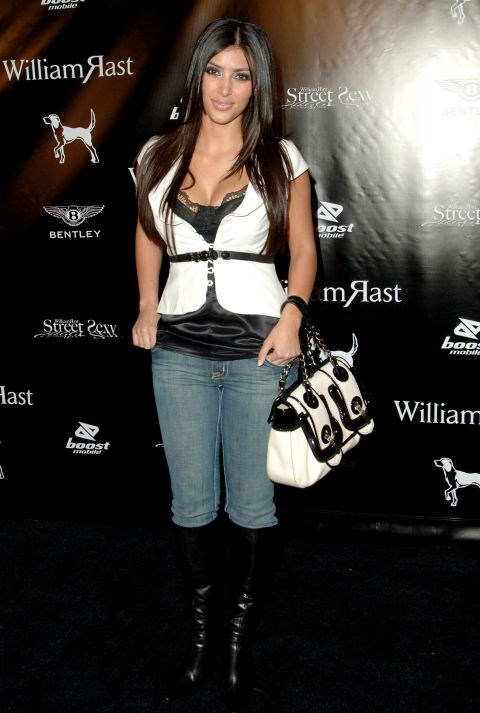 OCTOBER 2006 Kimmy basically wore her bag as a top for this event. And matched her boots to the whole look too. Obvs.
