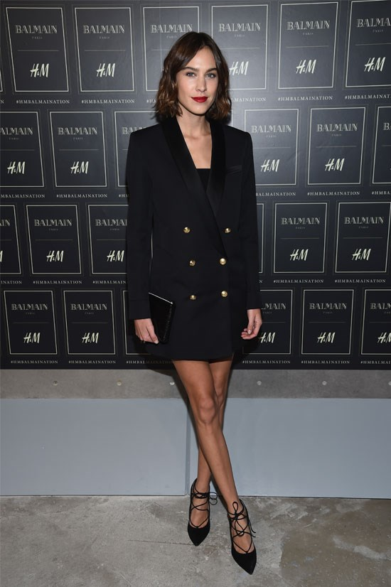 Alexa Chung works this look with strappy heels and a red lip.