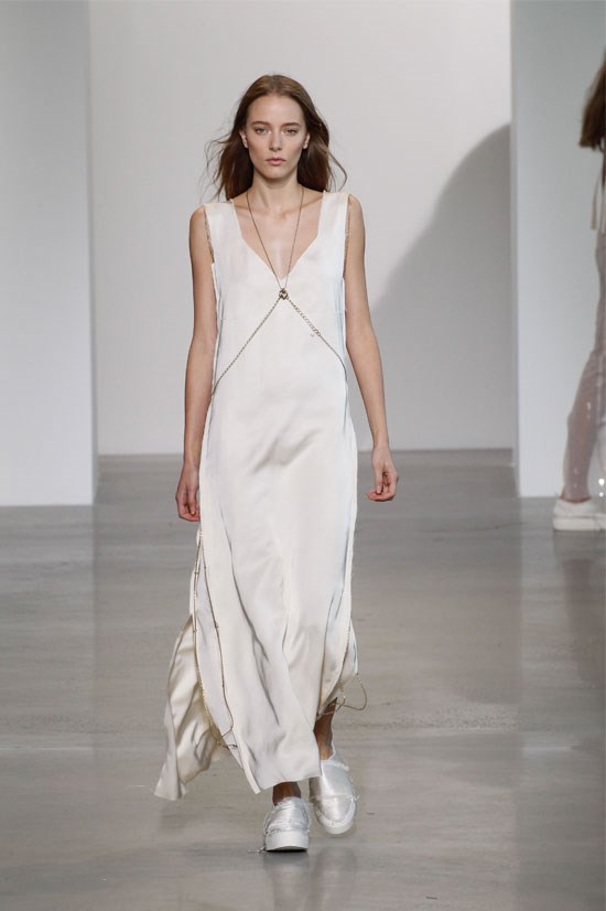"<strong>Calvin Klein</strong> (New York) <br> <br> ""Calvin Klein produced the ultimate 90s show. I love the clean, minimalist design of this slip dress and the body chain attached adds the perfect detail""."