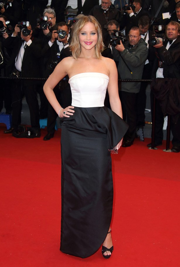 Jennifer Lawrence in a simple monochrome dress by Dior.