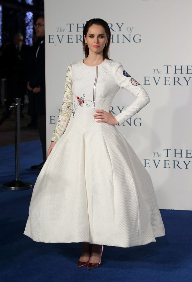 Felicity Jones made her red carpet debut in Dior. Good choice.