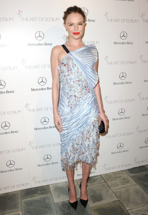 Kate Bosworth in a pastel blue creation by Raf Simons.
